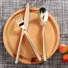 exquisite gold plated knife and fork of the three sets of Western tableware home luxury model room soft decoration