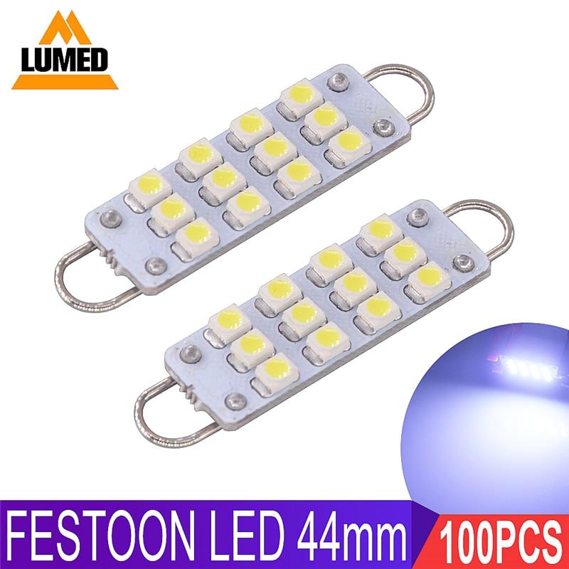 100x Festoon 12LED C5W Car 1210 SMD 44mm Car Interior Dome Lamp Reading Light Source DC