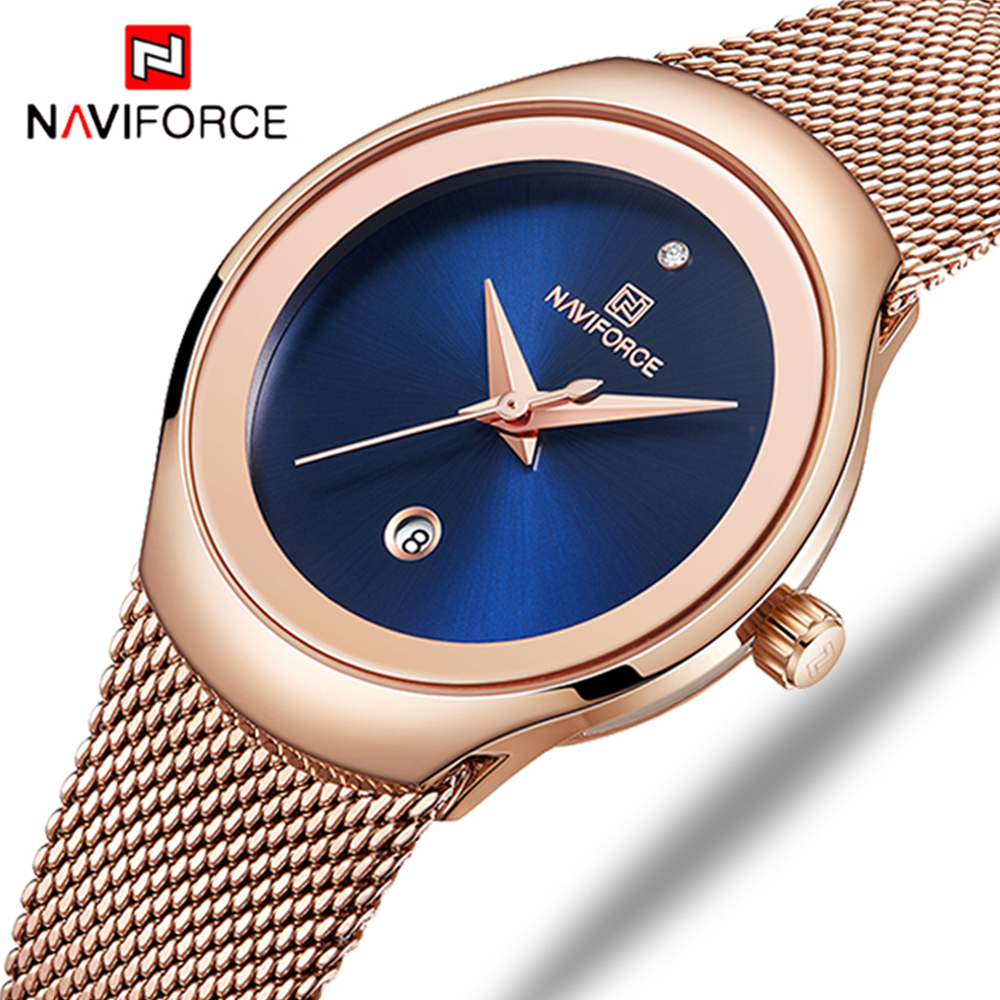 NAVIFORCE Women Fashion Gold Quartz Watch Lady Casual Waterproof Simple Wristwatch Gift For Girls Wife Saat Relogio Feminino