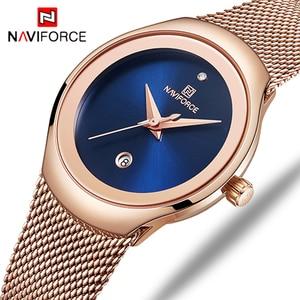 Image 1 - NAVIFORCE Vrouwen Mode Goud Quartz Horloge Lady Casual Waterdicht Eenvoudige Horloge Gift voor Meisjes Vrouw Saat Relogio Feminino