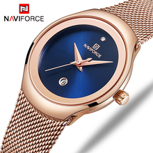 NAVIFORCE moda damska złoty zegarek kwarcowy Lady Casual wodoodporny prosty zegarek na rękę prezent dla dziewczyn żona Saat Relogio Feminino