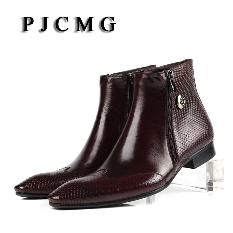 PJCMG New Cowhide Pointed Toe Genuine Leather Fashion Men s Zipper Work Bullock Patterns Oxford Dress
