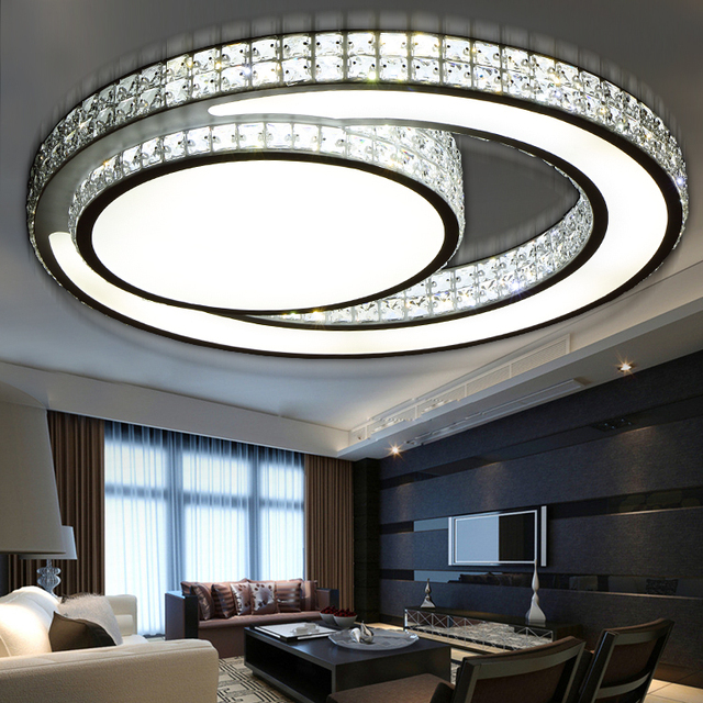 Modern Sun and Month Crystal LED Ceiling Lights Fixture Home Deco Living Room Acrylic Double Circle Iron Ceiling Lamp