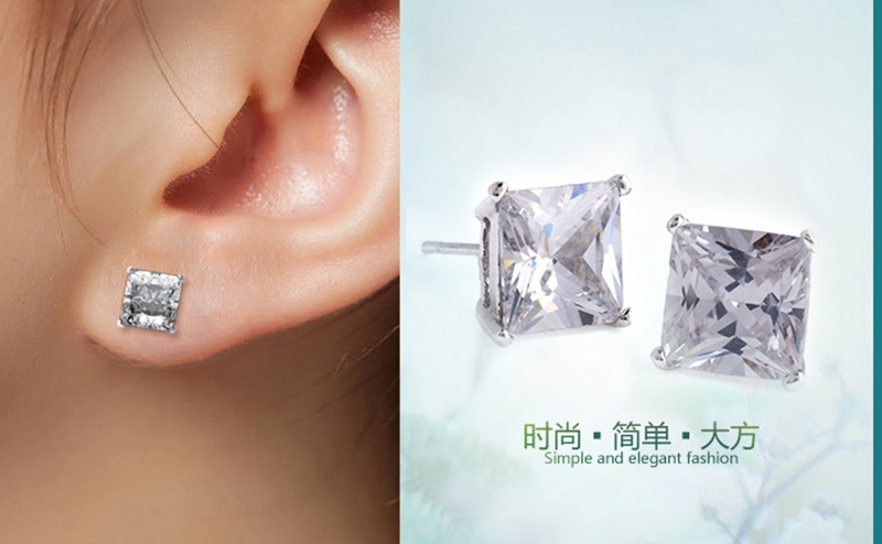 2 0ct White Gold Filled Princess Cut Earrings Men Stud 6mm In From Jewelry Accessories On Aliexpress Alibaba Group