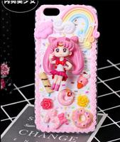 Sailor Moon 3D Kawaii Decoden Whipped Cream Black Phone Case For Iphone 7 Plus