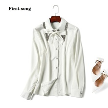 First song beaded sequins chiffon shirt 2019New womens fashion long-sleeved autumn and winter high-neck s