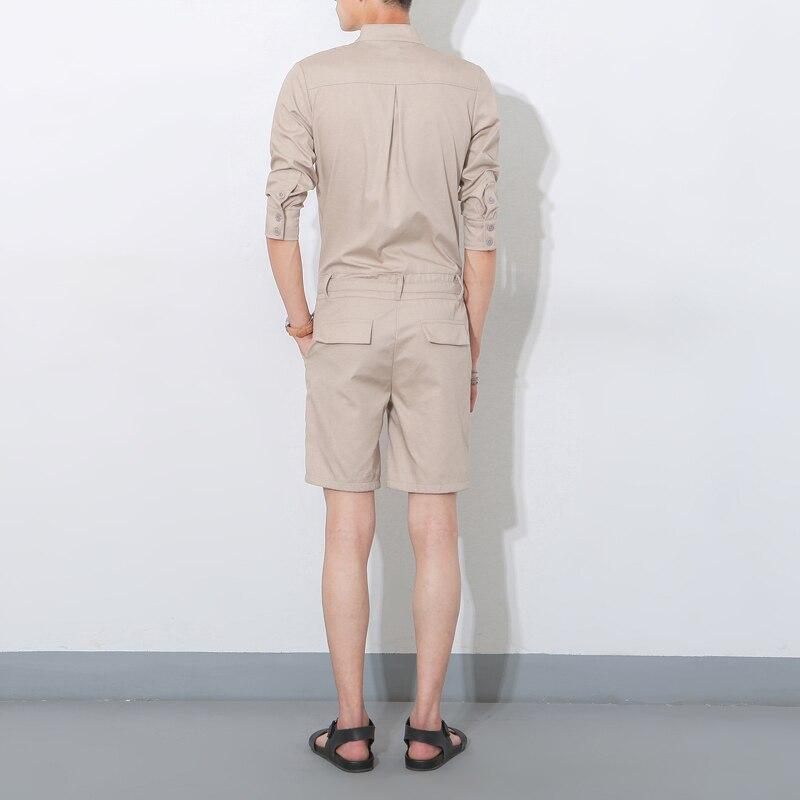 Été Courtes Casual Pantalon Combinaisons Mode Une Hommes Shorts Chemise Nouveaux Salopette Court kaki Cuissard À Manches Pièce Noir BqWngOrBw