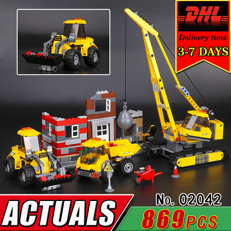 DHL LEPIN 02042 The Demolition Site City Series Children Educational Building Blocks Set Compatible 60076 Bricks Classic Toy Kid new lepin 16008 cinderella princess castle city model building block kid educational toys for children gift compatible 71040