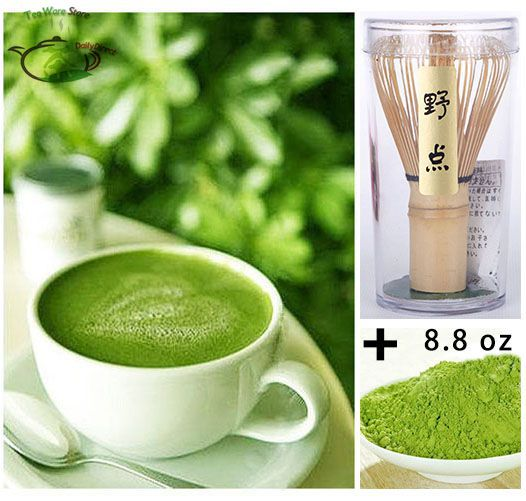 Pure Organic Matcha Green Tea Powder 8.8oz 0.55lb 250g bag+ Japanese Chasen Bamboo Whisk Set Pack