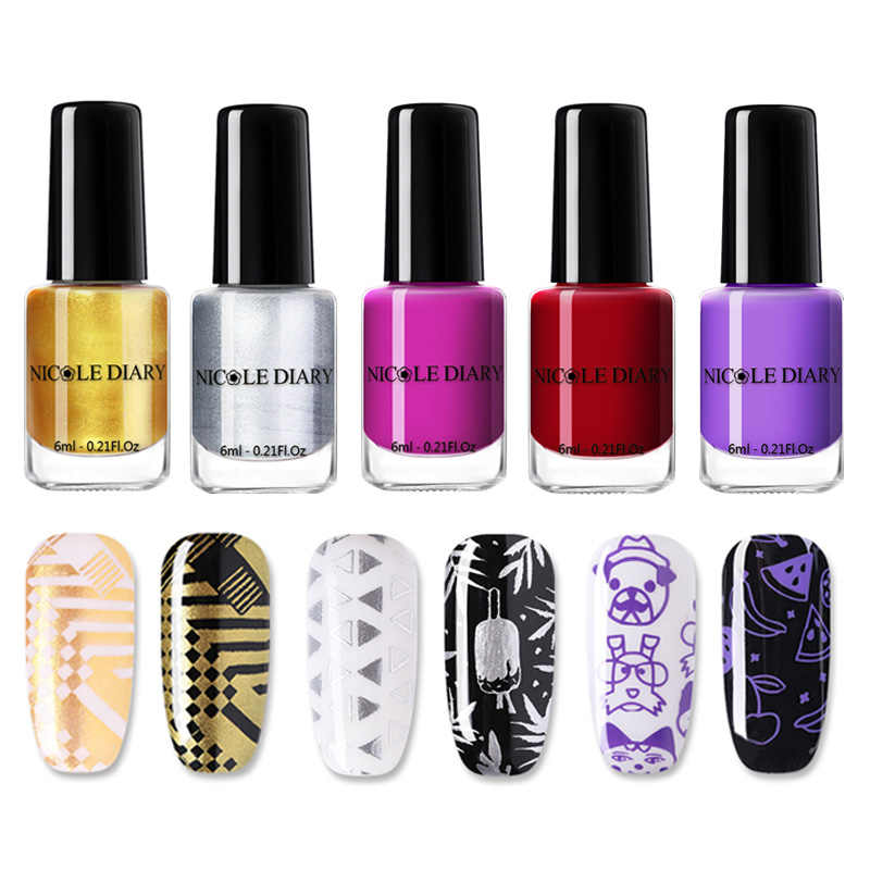 NICOLE DAGBOEK 1 Fles Nail Stempelen Polish Vernis Kleurrijke Nail Art Plaat Afdrukken Polish Lak Manicure Nail Art Varnish