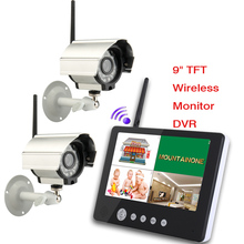 9 inch TFT Digital 2.4G Wireless Cameras Audio Video Baby Monitors 4CH Quad DVR Security System With IR night light Cameras
