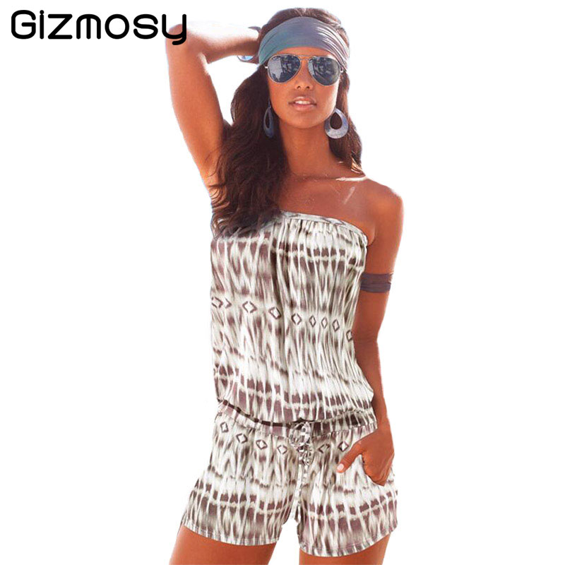 2017 Summer Women Jumpsuits Sexy Strapless Chest Wrapped Piece Shorts Fashion Rompers Women Jumpsuit Solid Playsuits BN1163