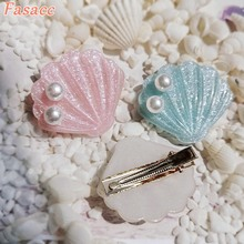 FASACC Sea Shell Hair Clips For Girls Clip Women Hairpins Sweet Barrette Headwear Korea Fashion Kawaii Pearl Hair Accessories ubuhle fashion women full pearl hair clip girls hair barrette hairpin hair elegant design sweet hair jewelry accessories 2019
