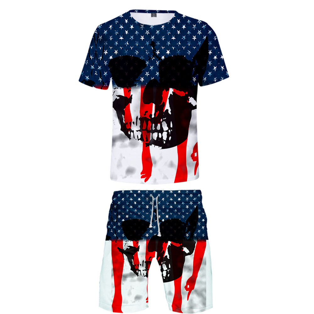 Men's Sets Hot US Independence Day Patriot 3D Print Tshirt And Beach Shorts Set Summer High Quality Trendy Sets