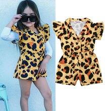 От 1 до 5 лет для маленьких детей, для маленьких девочек, Леопардовый цельный комбинезон с оборками, короткий рукав, милый комбинезон, наряды, летний костюм