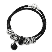 Exquisite Bracelets Black Bubble Murano Charms Beads European Real Leather Bracelets Star Style DIY Jewelry Birthday Gift