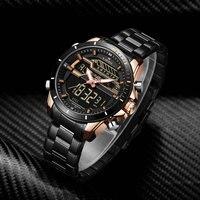 NAVIFORCE Casual Military Watch Stainless Quartz Clock Men Waterproof Fashion LED Analog Digital Mens Watches Top Brand Luxury