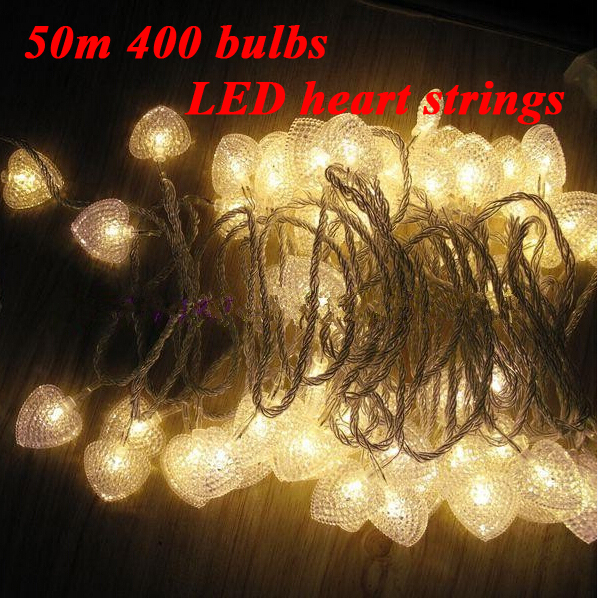 50m 400 Love Heart Garland LED Bulbs Fairy LED string lights EU Plug 220V luces de navidad Christmas Outdoor Wedding Decoration cancion de navidad