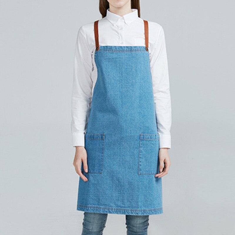 לבן כחול ג 'ינס סינר כותנה רצועות - סחורה ביתית