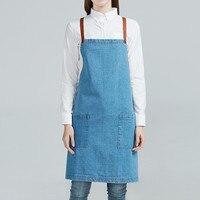 White Blue Denim Apron Cotton Straps Barista Baker Bartender Chef Catering Uniform Florist Painter Artist Gardener Work Wear K12