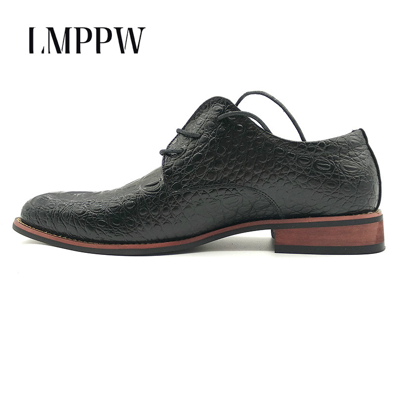 Fashion Retro Crocodile Pattern Men's Shoes Leather Casual Oxford Shoes Luxury Brand Men Dress Flats Oxfords Gold Black Red 2A