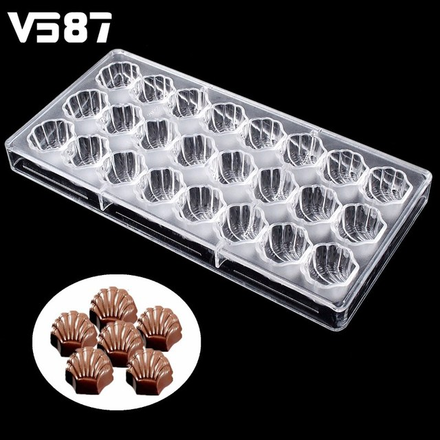 Chocolate Mold 24 Cells Diy Sea Shell Shaped Polycarbonate Plastic Clear Ice Jelly Candy Mould