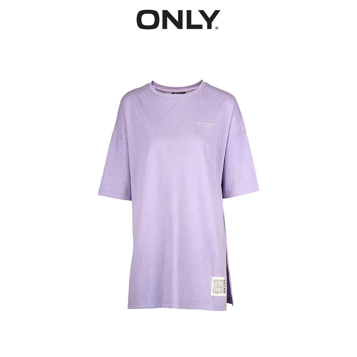 Только 2019 Весна Лето Новая женская Свободная футболка с круглым вырезом и буквенным принтом | 119101548