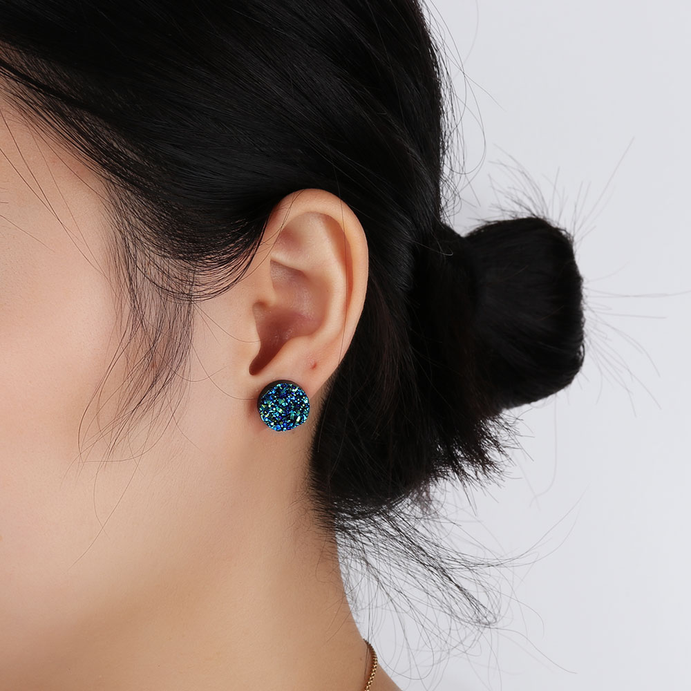 12 PAIRS Cute Candy Colors Stud Earrings Set Mixed Elegant Ball Shaped Ear Stud