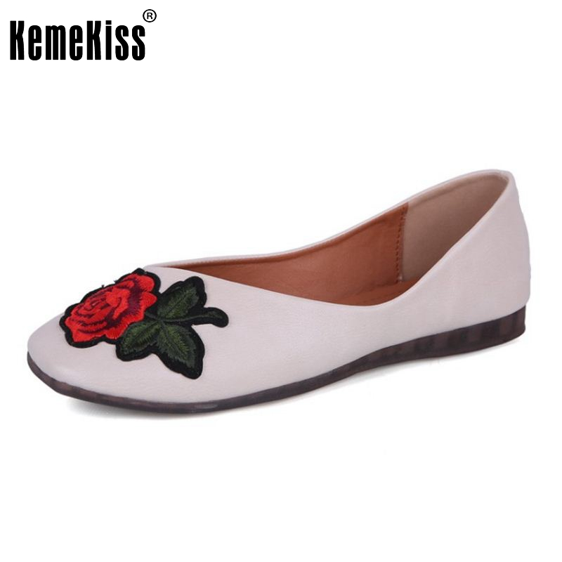 KemeKiss Vintage Ladies Embroidery Flats Shoes Women Square Toe Flower Flats Shoes Summer Vacation Soft Footwears Size 35-40 vintage embroidery women flats chinese floral canvas embroidered shoes national old beijing cloth single dance soft flats