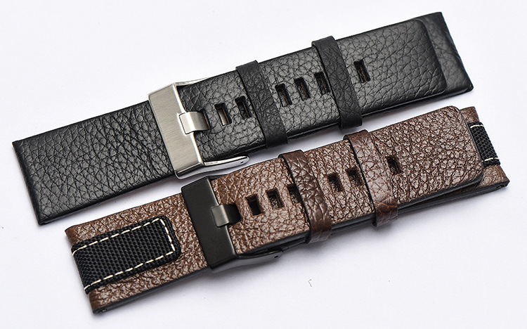 Genuine Leather Watch Band Strap 20mm 22mm 24mm Brown Black Woman Man Watchbands Watch Belts High Quality OUYAWEI 22mm 24mm black mens genuine leather watch strap band