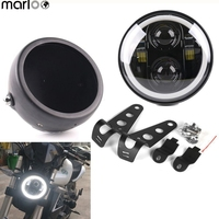 Marloo Harley 5.75 Headlight LED Full White Halo Light With 5 3/4 Inch Headlight Bucket shell For Motorcycle