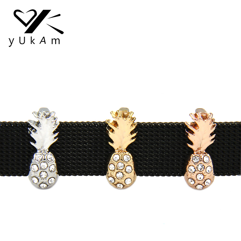YUKAM Keys Rhinestone Fruits Sliders Pineapple Slide Charms Keeper for Leather Mesh Keepers Bracelets Jewelry Accessories Making