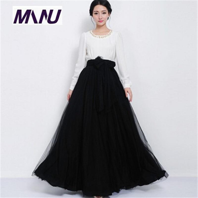 Online Get Cheap Floor Length High Waist Skirt with Bow ...