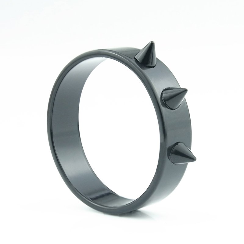 36pcs/lot Stainless Steel Black Rings Defensive Punk Spike rivet cone coyotes Ring 5mm Jewelry Wholesale Wedding