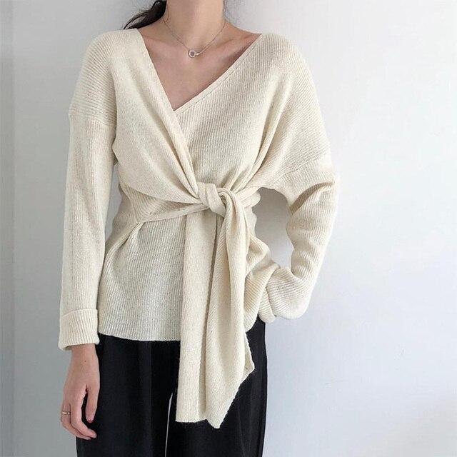 קוריאני אופנה עניבת קשר שיק מפנק נשים סדיר צוואר ארוך שרוול סרוג סוודר סוודר אלגנטי גבירותיי מגשרי חולצות