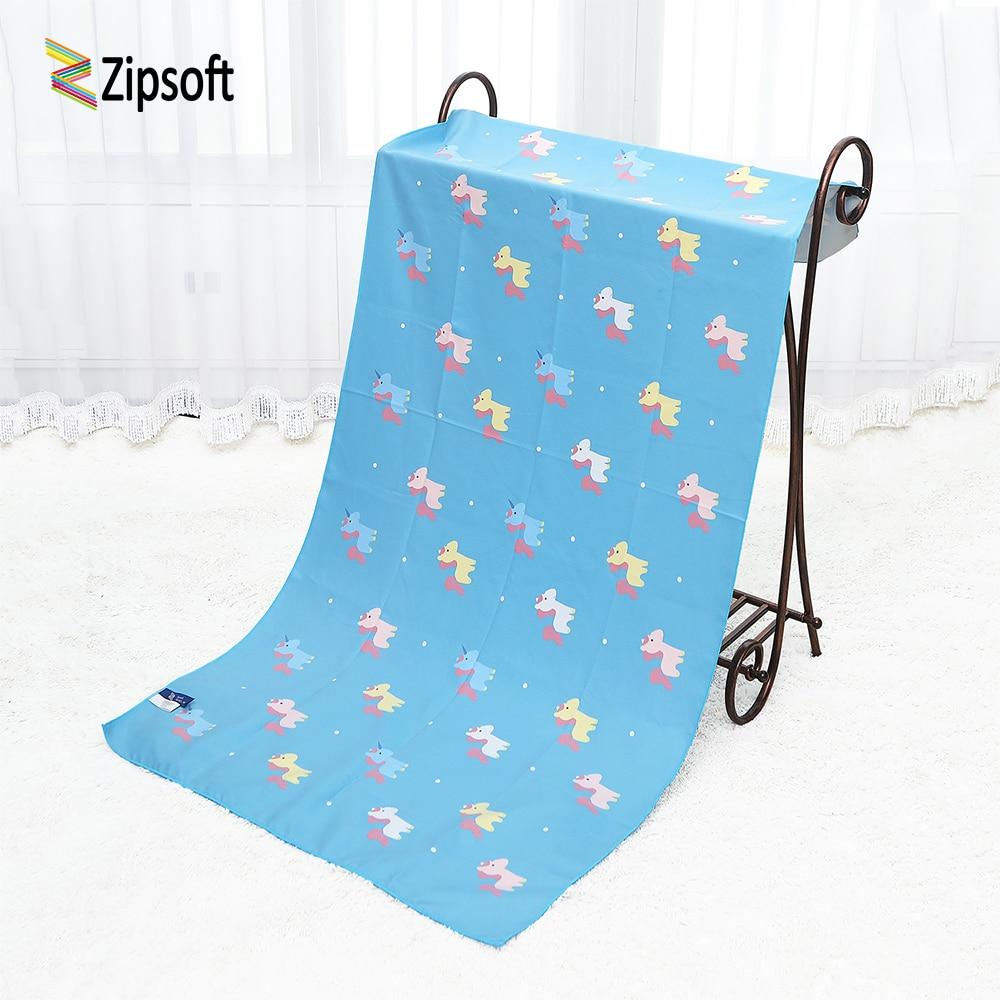 Zipsoft Children Beach towel Unicorn Large Microfiber Towel 75*150cm Printed Traveling Quick dry Sports Swimming Bath Camping