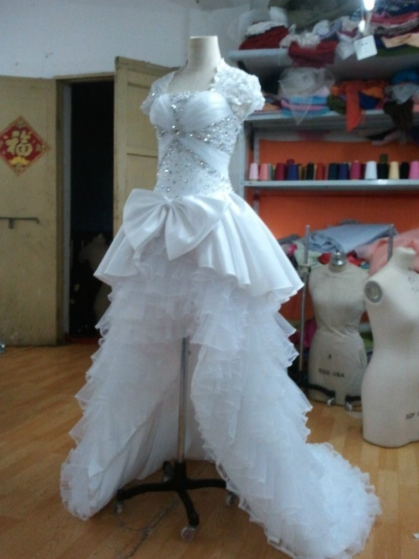 Actual Photos organza and satin white luxury bows tiers beaded ...