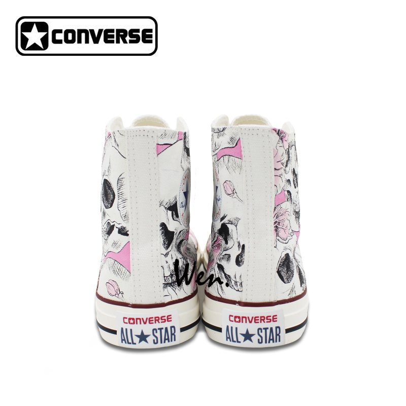 Hand Painted Skull Flower Converse Chucks Men Women Skateboarding Shoes  Floral Canvas Sneakers High Top Flats-in Skateboarding from Sports    Entertainment ... 27715c275