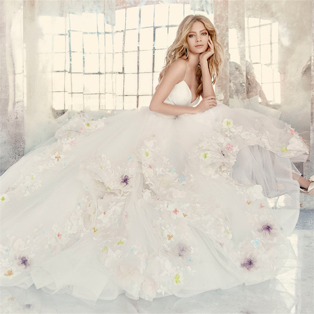 2016 New Spring Beautiful Flower Petal White Ivory Organza Ball Gown ...