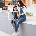 2016 new arrival spring denim street girl's hole jeans overalls, mother and daughter casual ripped overalls Suspenders trousers