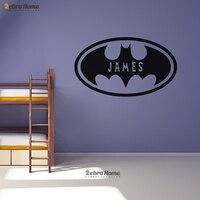 Batman Ovale Personnalisé Nom Personnalisé Stickers Muraux Décor À La Maison Chauve-Souris Vinyle Sticker Mural Papier Peint Avec Garçons Nom Chambre Décor
