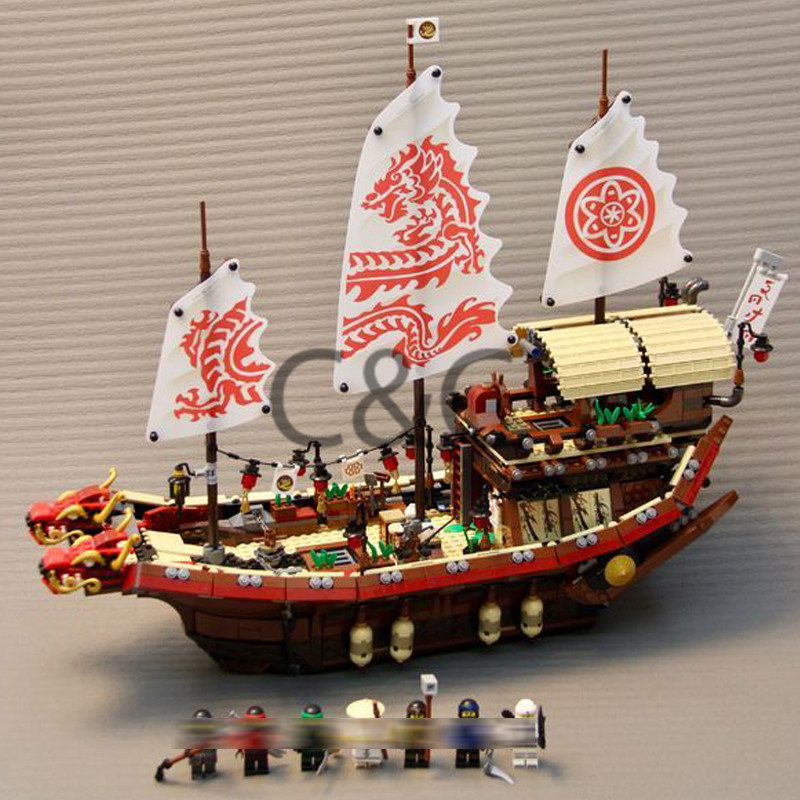 70618 Ninjagoes Series Pirate Dragon Ship Final Fight of Destiny Bounty Set Model Building Blocks Bricks Toys for Children 06057 2017 new 10680 2324pcs pirate ship series the slient mary set children educational building blocks model bricks toys gift 71042