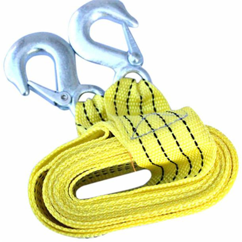 Hot Classic Free Shipping 3 Tons Car Tow Cable Towing Strap Rope with Hooks Emergency Heavy Duty 300CM