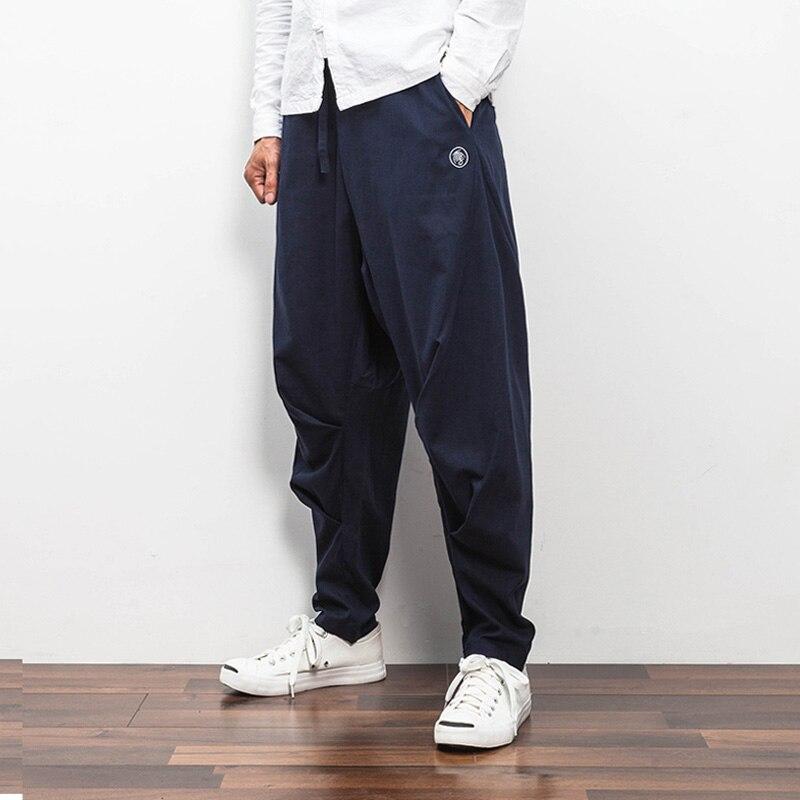 2017 новый китай стиль мужские шаровары брюки весна свободные льняные причинная улица хип-хоп панк sweatpant мужской брюки k37