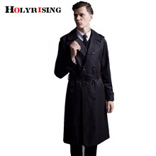 men trench coat double button overcoat slim homme windbreaker mens beige black coat pardessus male long jacket#18224 Holyrising(China)
