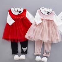 Anlencool סט שמלת תינוק ילדים ילד נשי בגדי 2018 נסיכת תחרה שלוש חתיכות להגדיר בגדי תינוקות ילדה משלוח חינם