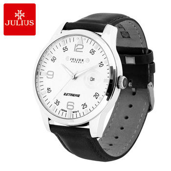 Julius Men's Homme Wrist Watch Auto Date Fashion Hours Dress Square Retro Leather Student Boy Birthday Lovers Father's Gift