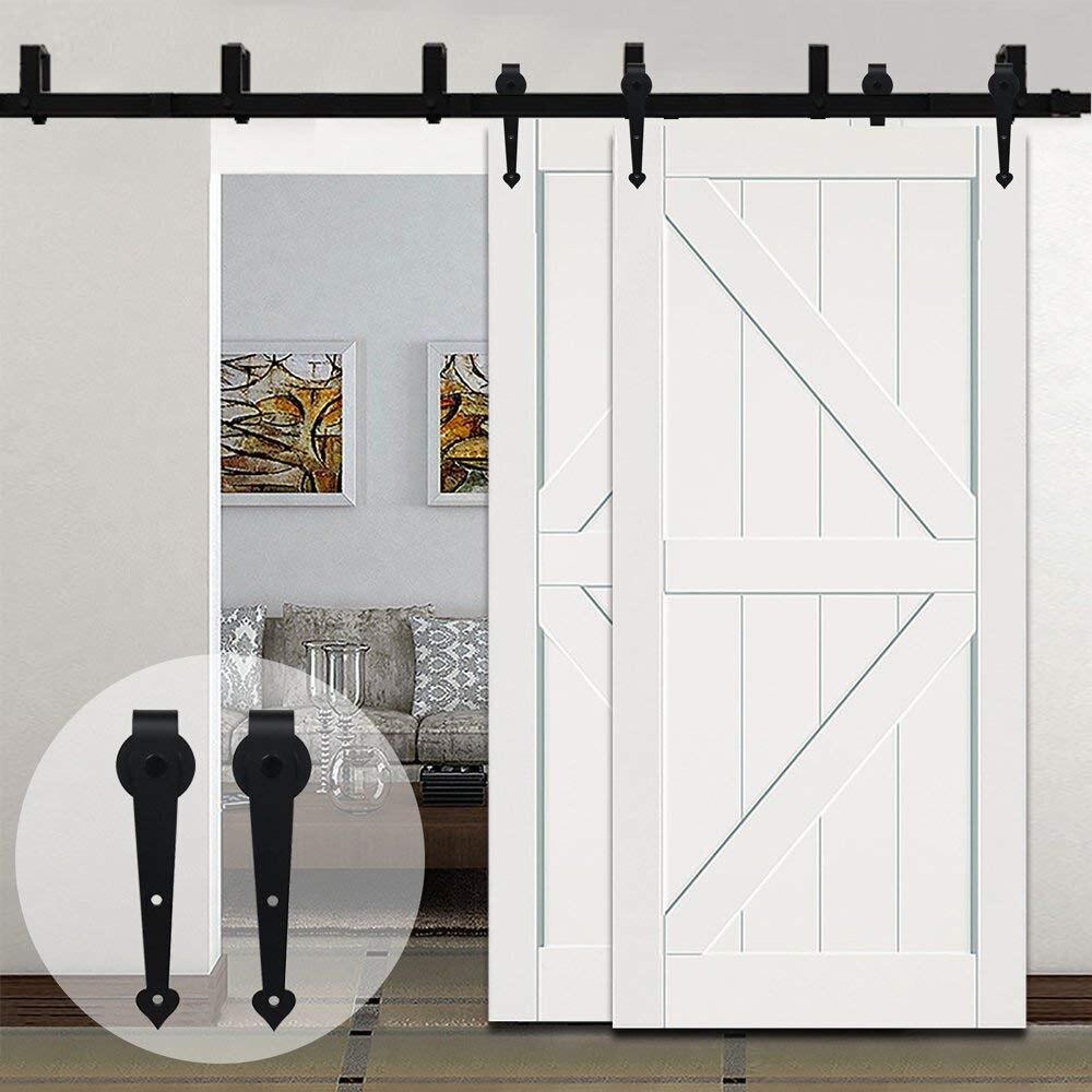 LWZH Porta Scorrevole In Legno Bypass Scorrevole Barn Door Hardware Kit In Acciaio Nero A Forma di Cuore Della Pista Rulli per Interni Doppia Porta