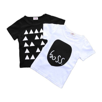 Black and White Cotton Baby Boys T-Shirt 1