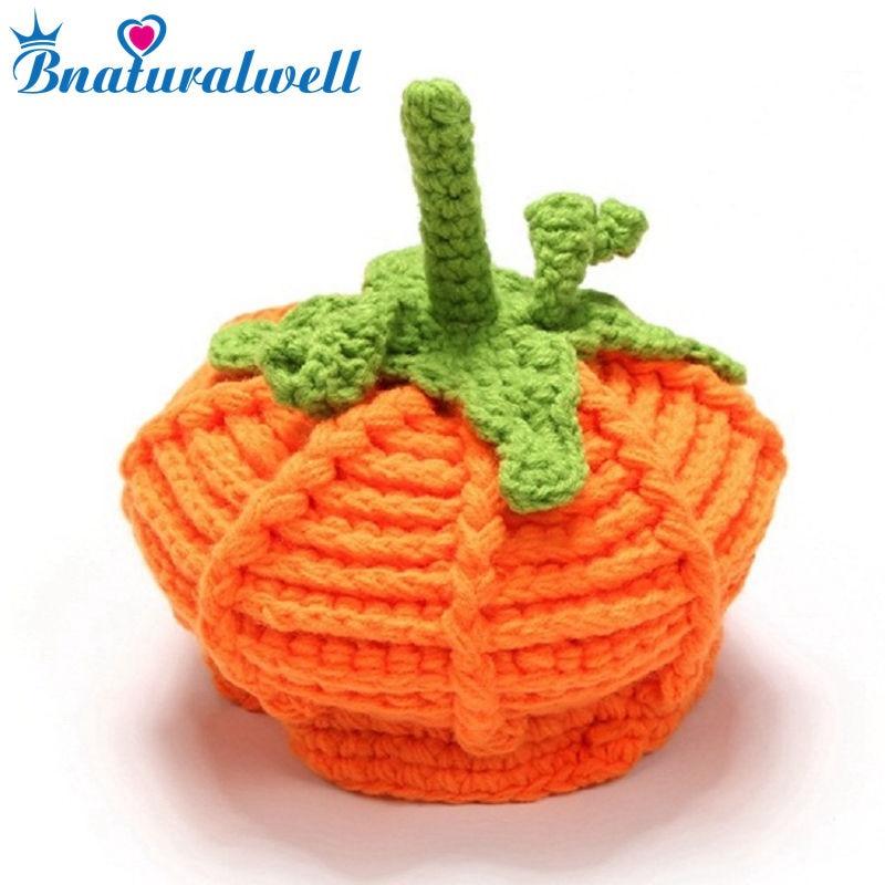 Bnaturalwell Baby Winter crochet pumpkin hat Toddler boy girl knitted Beanie Children Halloween hat Festival Photo Props H514D